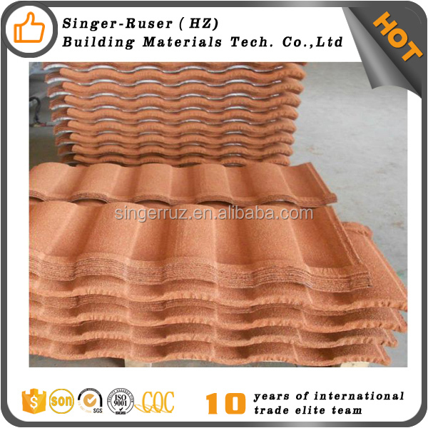 Brick Color Rainbow Stone Coated Roofing Tile /Roman Stone Coated Steel Roofing Tile