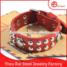 Factory Supply Adjustable Size Stainless Steel Gold Leather Bracelet