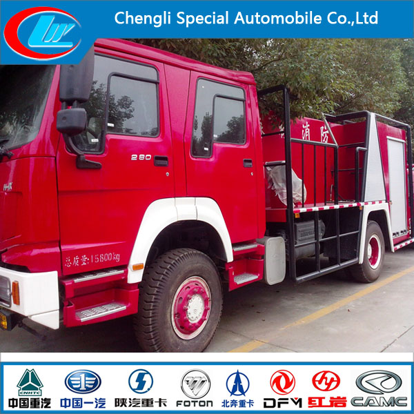 China manufacturer 4x2 HOWO 12000L rescue fire truck 375hp water tank fire fighting truck for sale