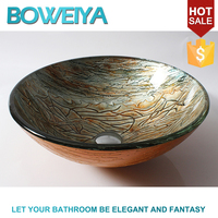 Made in China 12mm Thickness Tempered Glass Silver Color Round Shaped Fancy Wash Basin for Shower Room