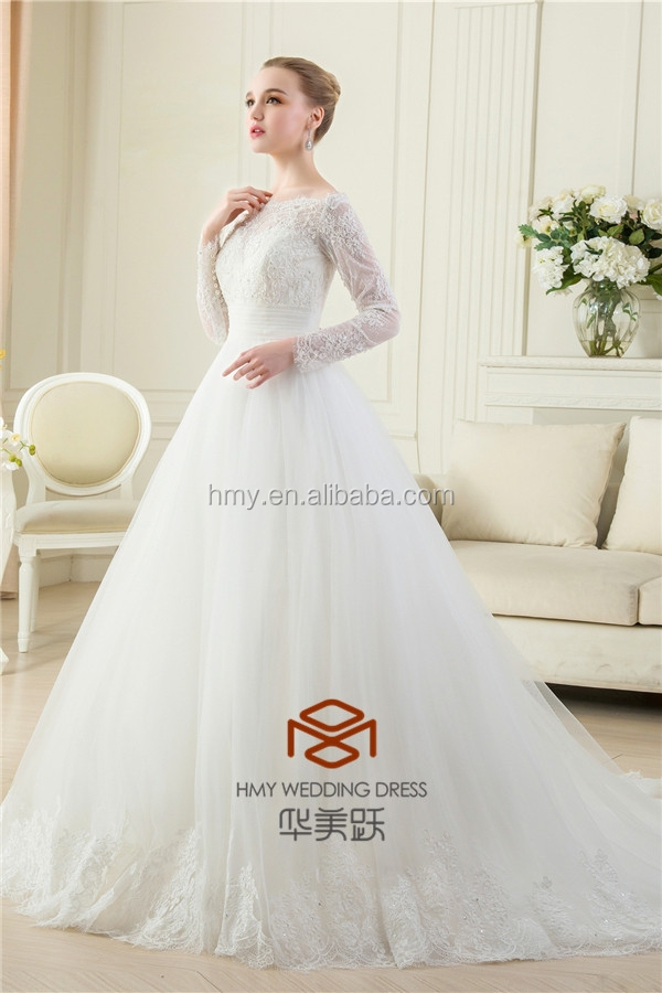 OEM Service Supply Type and Floor-Length Hemline Wedding Dresses in Dubai HMY-D428 Girls Muslim Maxi Tulle Lace Wedding Gown