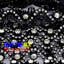 2015 rhinestone trims,black base crystal stones moon rhienstone plastic trimming roll