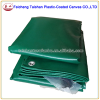 550gsm high strength dark green PVC fabric side curtain off truck