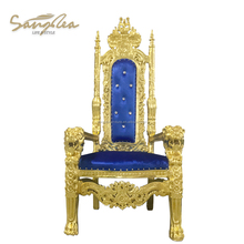 Luxury royal bule high back weddings carved king lion chair