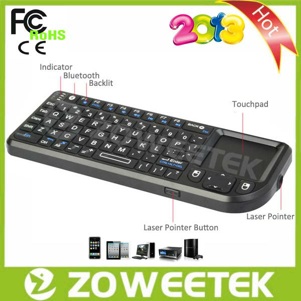 810mA Rechargeable Battery Bluetooth 3.0 Mini Wireless Keyboard for smart tv