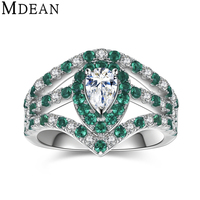 MDEAN 925 solid sterling silver rings Emerald green stone CZ diamond jewelry wedding rings for women engagement bague MSR565