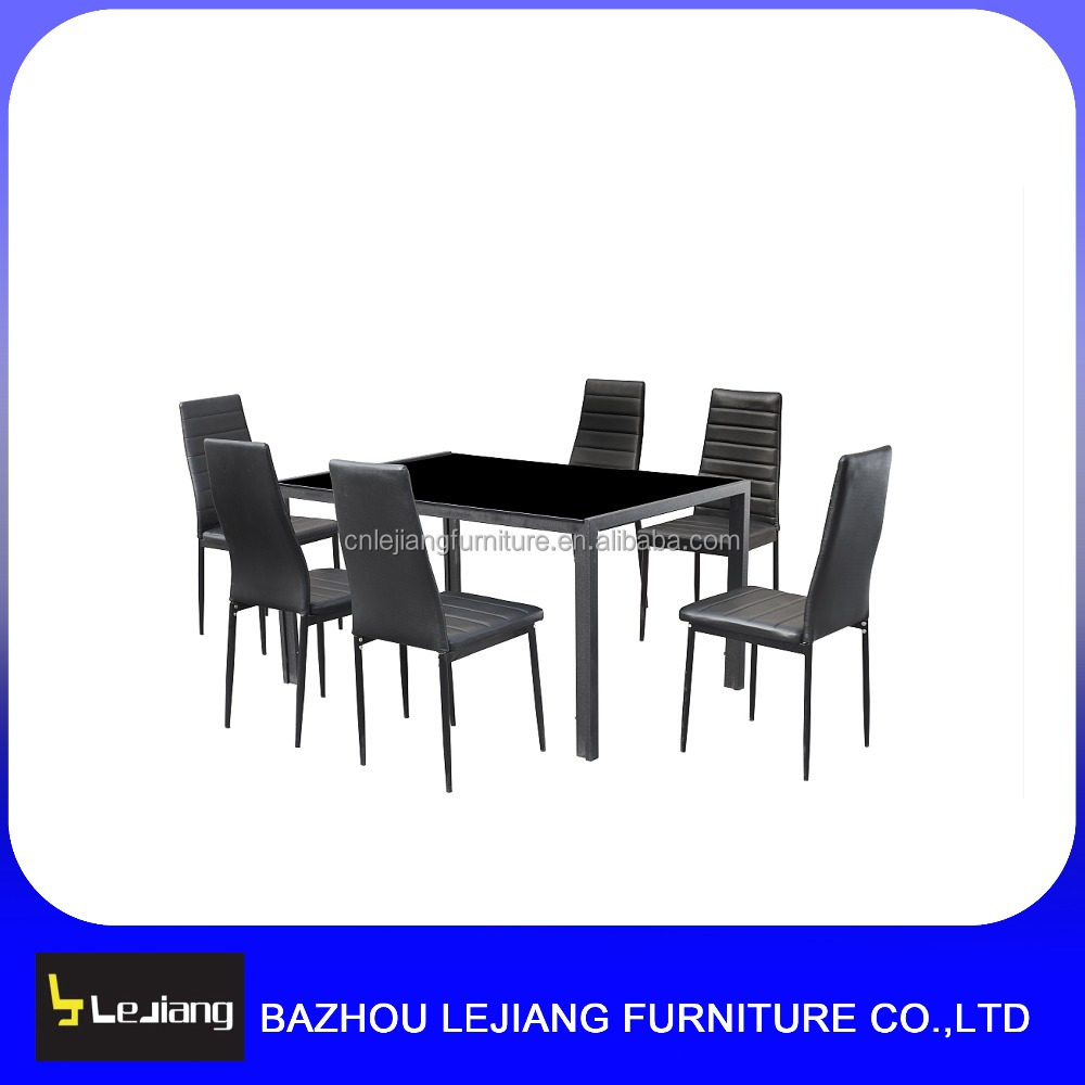 hot sale tempered glass top metal legs dining table