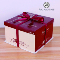 Lid and Base Cake Box with Ribbon