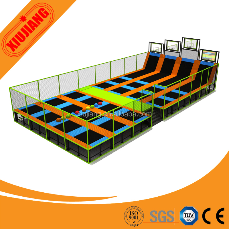 Steel and Fabric Soft Play Station Indoor Trampoline Park for Children Jumping Fitness