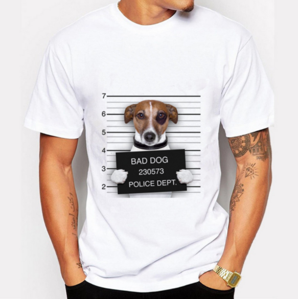 white men's 95% cotton 5% elastane t shirt dog logo t-shirt print