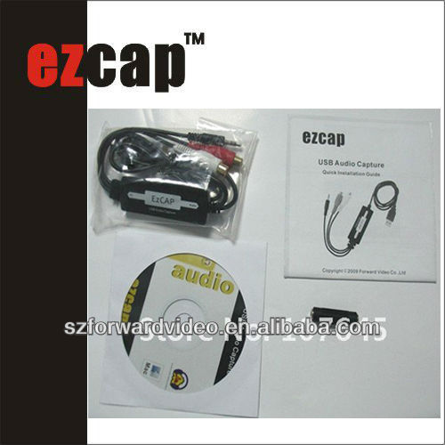 USB audio capture,convert both the old tapes and phono,mono to MP3 CD,audio converter cable-ezcap216B