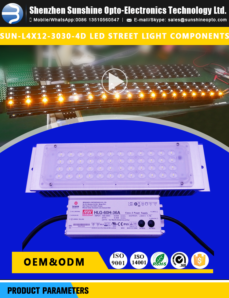 Outdoor Waterproof ip65 40W 60w Led Street Light Module with Lens for 3030 SMD LED