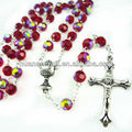 red glass rosary 6MM glass catholic necklace with Jesus cross