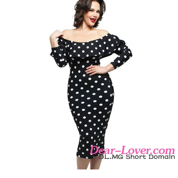 Women Clothing Wholesale Black Polka Dot Ruffle Off Shoulder Sexy Plus Size Formal Dresses