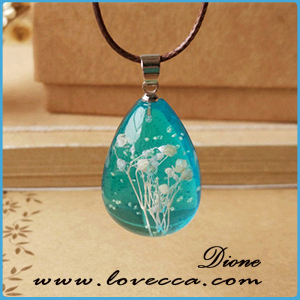 Hot Fashion Crystal glass Ball Dandelion Necklace Long Strip Leather Chain Dried flowers