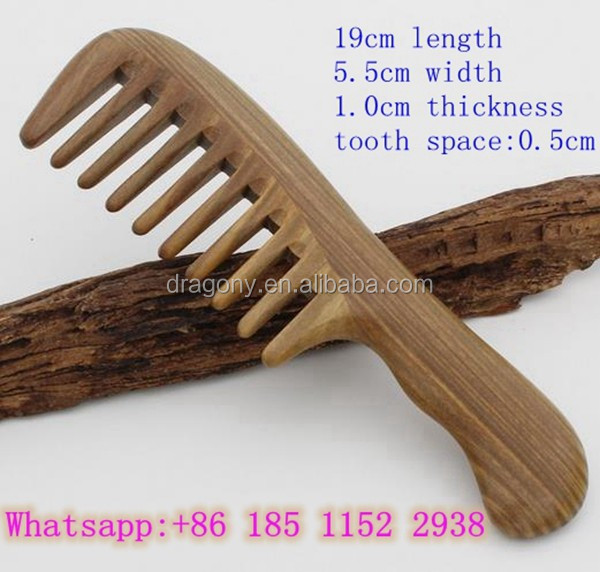 head massage hairbrush handmade natrual sandalwood giftware curve long handle wide tooth wooden comb