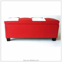 TDST-01-1 QVB JIANDE TONGDA RED AND WHITE COLOR PLASTIC BLACK FOOT WOOD FRAME PU SEAT HOME PU BENCH STORAGE BENCH SOFA