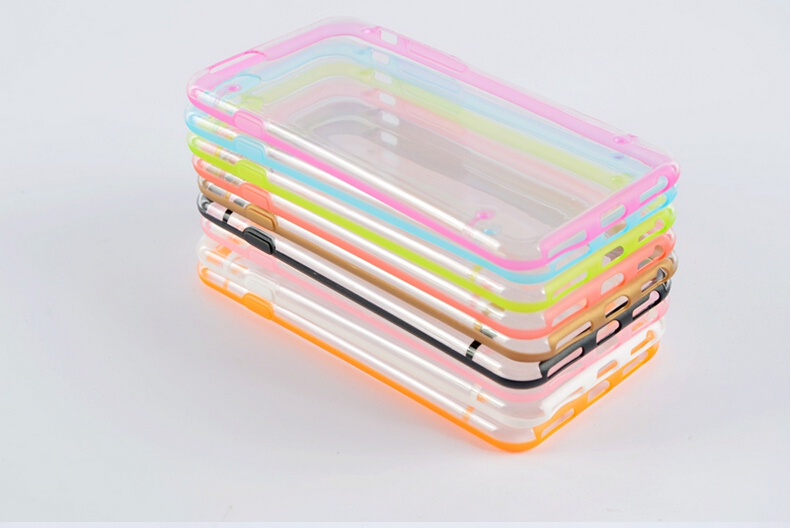 TPU+PC Luminous Case For iPhone 6,Transparent For iPhone 6 Case With TPU Bumper JL-001