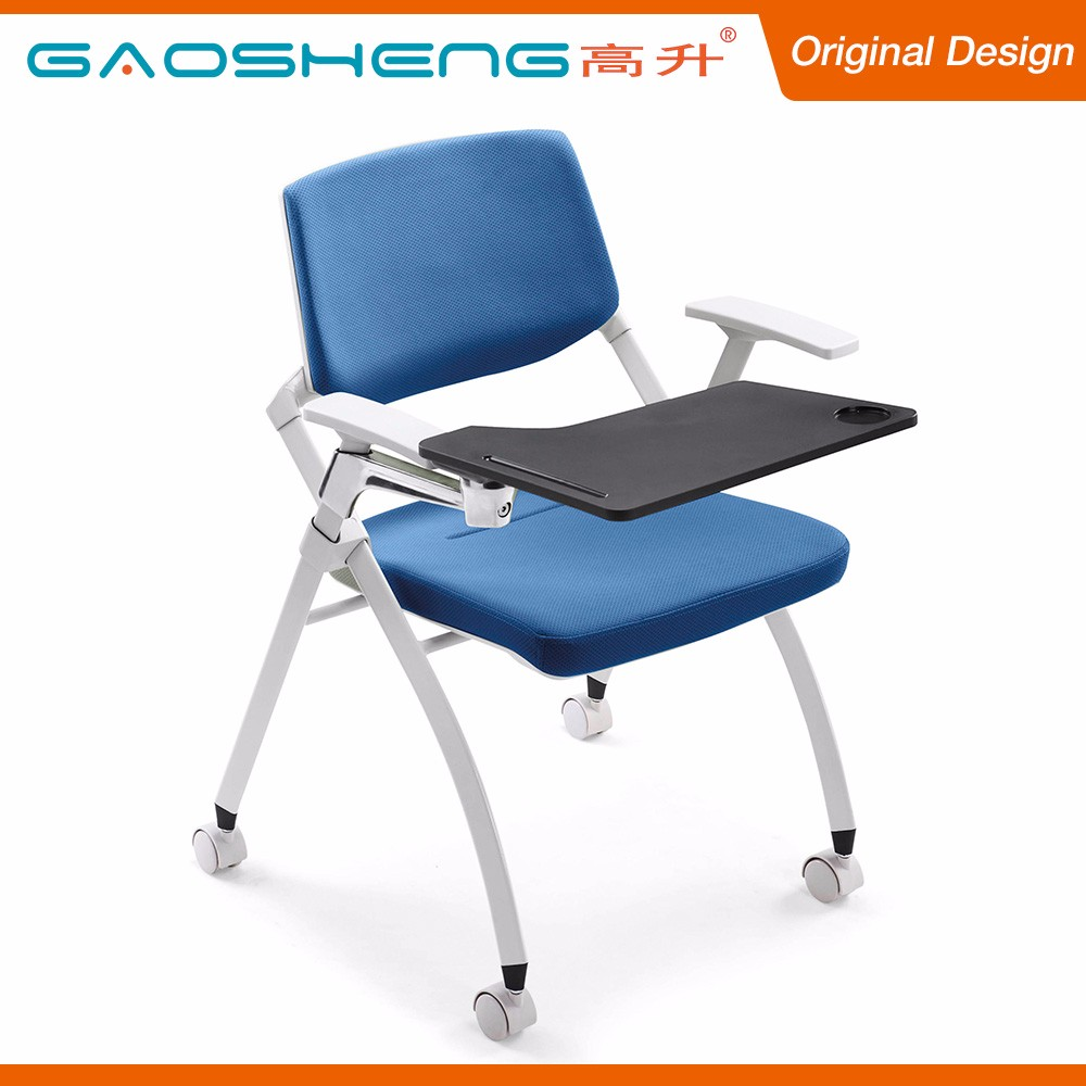 College Folding Plastic Resin Back Study Chairs With Writing Pad