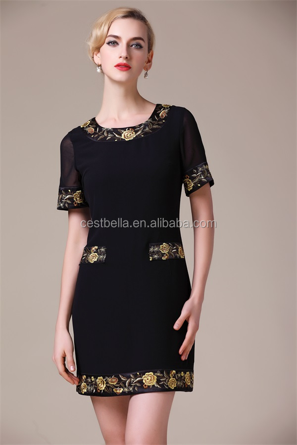 New Fashion Quality Woman Clothes 2016 Summer new arrival 2016, ethnic style embroidery silk dress
