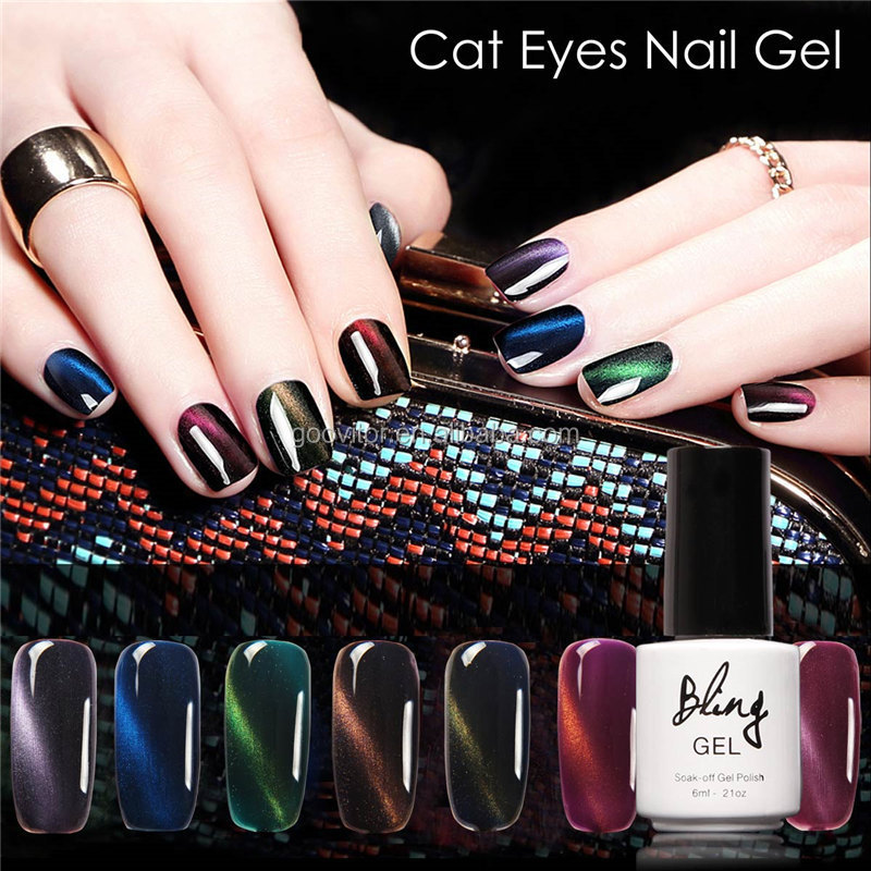 Bling 3D Cat Eyes Gel Nail Polish 30 Colors Quartz Artificial Nail Art 6ml