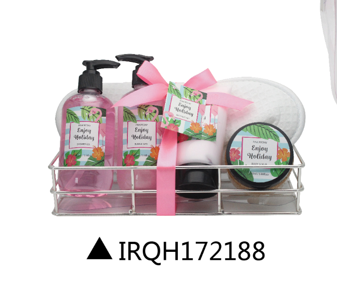 Wholesale promotion luxury pink peony bath set 6pc spa set in iron wire basket