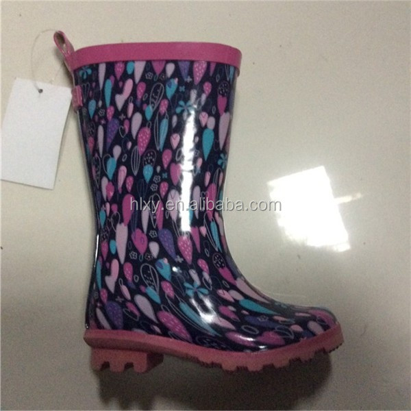 Girl Kids GALOSHES WELLIES RUBBER RAIN Boot*BLACK PINK BLUE PLAID