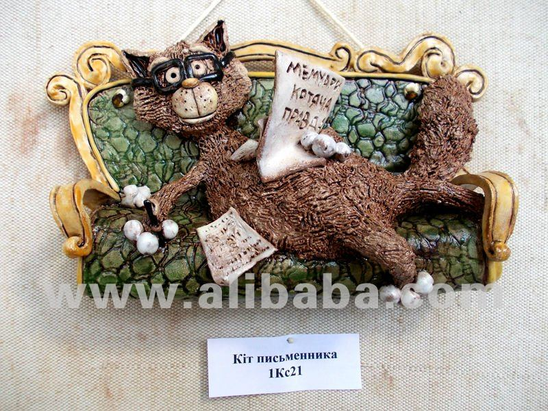 Cat of the Writer Ceramic 3d wall picture
