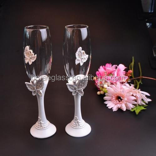 beautiful Butterfly wedding champagne glass set decor hanap red wine cup glasses Bride Groom marry cups Wedding party supplies