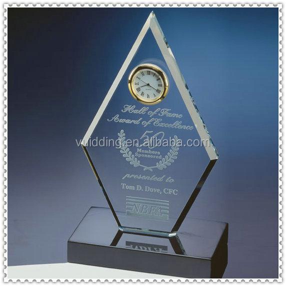 Bevel Crystal Diamond Plaque Clocks For Anniversary Souvenir