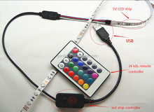 12 V changer power supply led light bar rgb 5050 USB strip 120 leds/m kit and 44 key remote controller