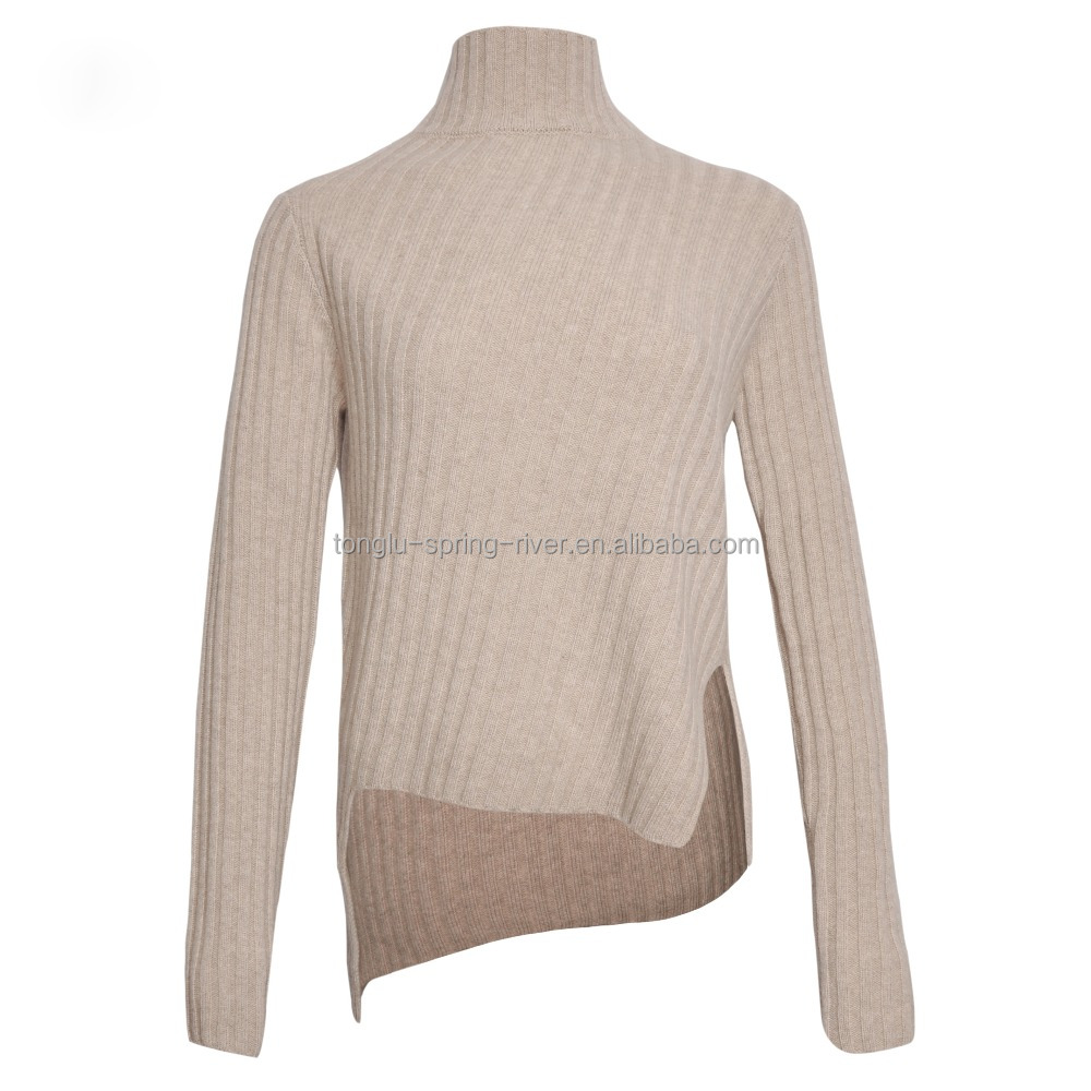 Manufacturer Low MOQ Turtleneck Ladies Pullover Wool Cashmere Knitwear