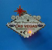 Las Vegas metal badges with led light