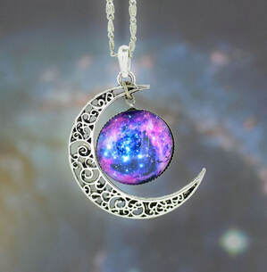 Jacoso Jewelry Glass Galaxy Lovely Pendant Silver Long Chain Alloy Hollow Moon Pendant Necklace  Women Summer Beach Accessories