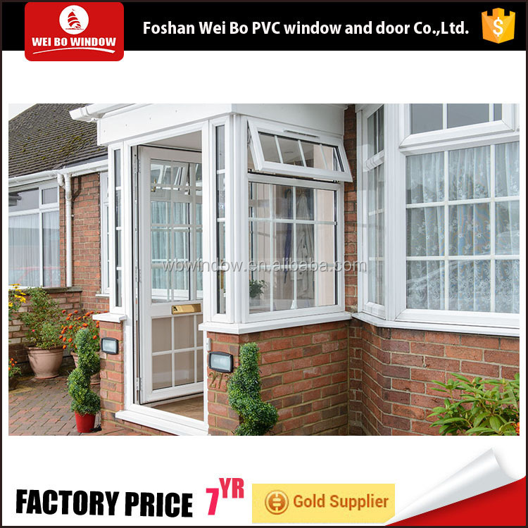 Top quality soundproof double glass iron grills insert pvc casement doors