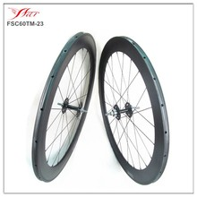 700C 60mm deep fixed gear wheels carbon tubular 23mm wide carbon track bike with single speed novatec hub