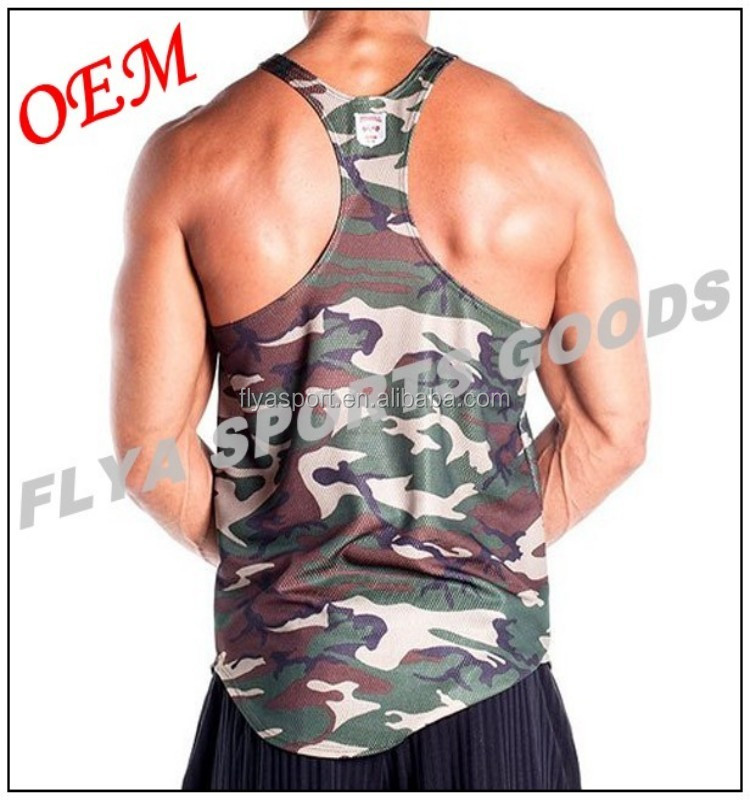 2017 hot sale slim fit camo singlet for men in Dongguan professional manufacturer
