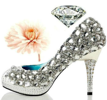 D15143A 2014 Pearl diamond red bride crystal lace wedding high heel shoes