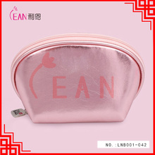 2017 fashion pink colour promotion shell shape leather makeup bag