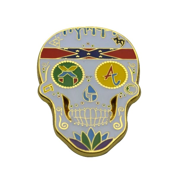 Gold Plated Metal Soft Enamel Skull Lapel Pin Badge with epoxy
