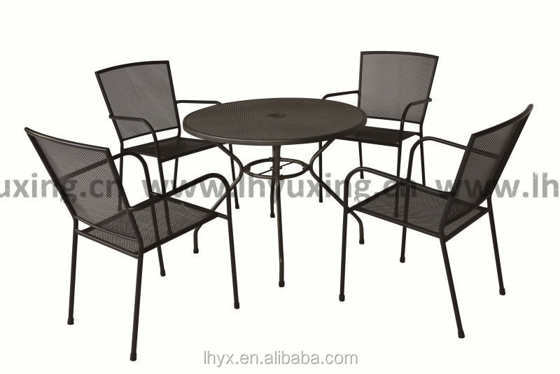 Hot selling outdoor metal mesh furniture mesh table mesh chair set metal patio furniture garden