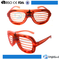 Solid color logo printed glow in the dark led light flashing shutter shades retro party sunglasses with blinds