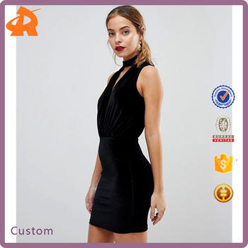 customize sleeveless black lady dress,short fancy dress costumes for party