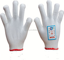 7/10 gauge white knitted cotton gloves manufacturer in china/light purple gloves
