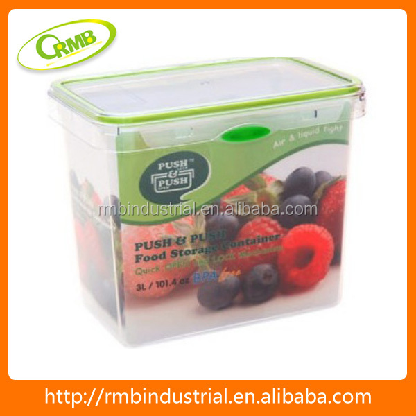 3L rectangle with color button storage box plastic food container