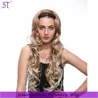 China wig supplier wholesale super wave blonde ombre half wig 30 inch long synthetic hair 3/4 wig