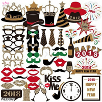 2018 Happy New Year's Funny Family Party Photo Booth Props