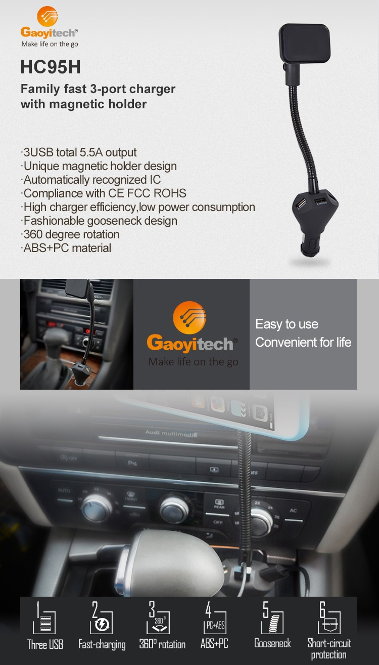 Magnetic Phone Holder with charging, 3 USB Port Car Charger Mount
