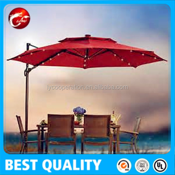 10 ft outdoor patio umbrella with crank LED lights on the ribs