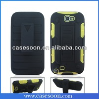 For Samsung GALAXY Note 2 II Rugged Kickstand Holster Hybrid Case w/ Belt Clip Stand N7100